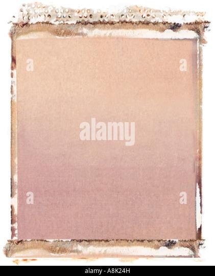 Blank 4x5 format polaroid transfer on white background - Stock Image