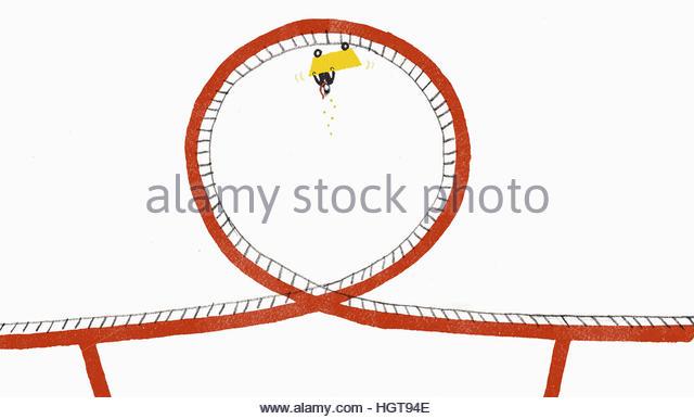 Money falling from businessman upside down on rollercoaster - Stock-Bilder