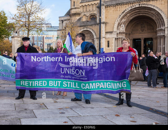 Belfast, Northern Ireland, UK, 18th October 2014. Hundreds gather in Writers' Square in a rally organised by - Stock Image
