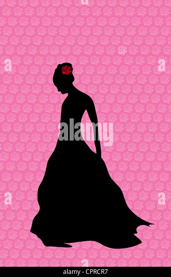 Black silhouette of a woman standing alone with a red rose in her hair. - Stock Image