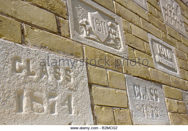 Wisconsin Kenosha Third 3rd Avenue Historic District Kemper Center former woman's preparatory school wall detail - Stock Image