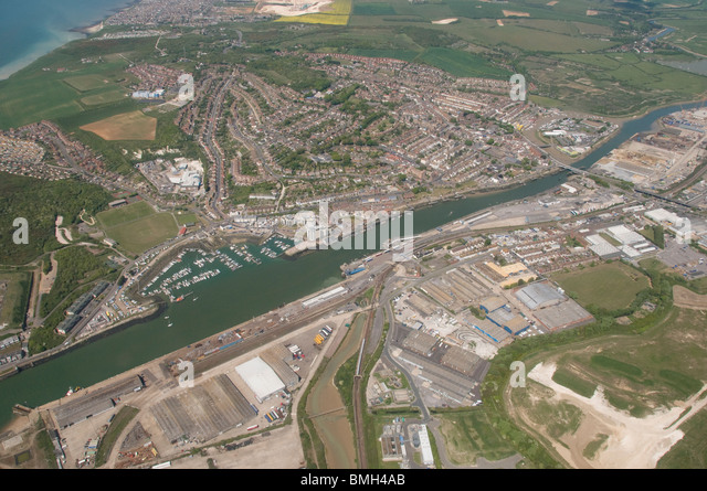 aerial photograph of Newhaven harbour, Sussex, England - Stock Image