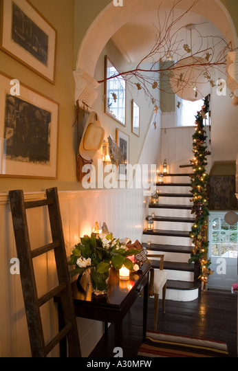 Christmas decoration Mexican style in a Victorian house in London - Stock Image