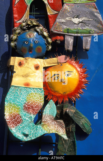 cancun area mexico shopping metal art crafts - Stock Image