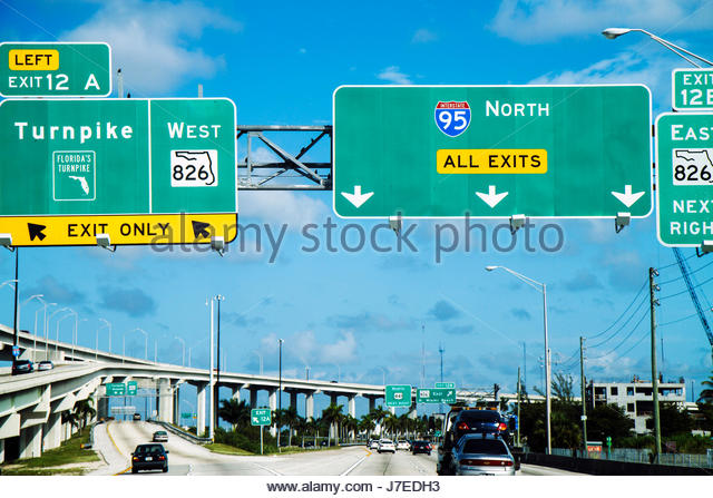 Miami Florida Golden Glades Interstate 95 I-95 Turnpike highway signs traffic - Stock Image