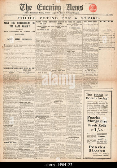 1919 Evening News Police vote to strike - Stock Image