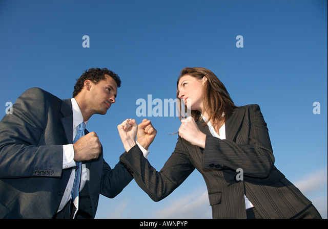 Businesspeople boxing - Stock Image