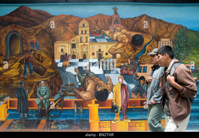 La Paz mural showing the history of Bolivia - Stock-Bilder