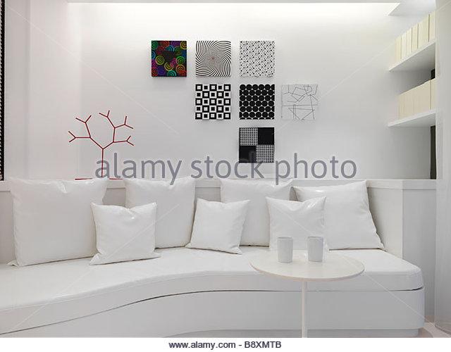 White sofa in modern living room - Stock Image