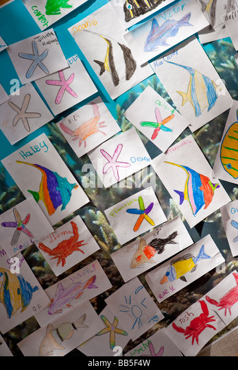 drawings of ocean creatures by grade school children Earth Day Celebration Santa Barbara California United States - Stock Image