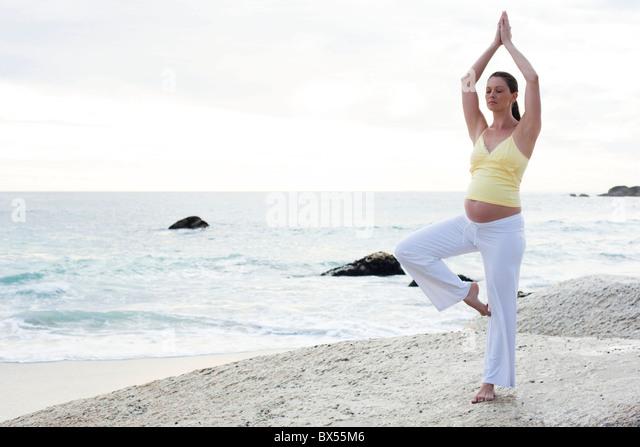 Yoga in pregnancy - Stock Image