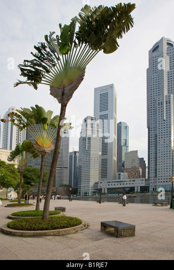 Raffles' Landing Site, Singapore River and the Financial District of Singapore at back, Singapore, Southeast - Stock Image