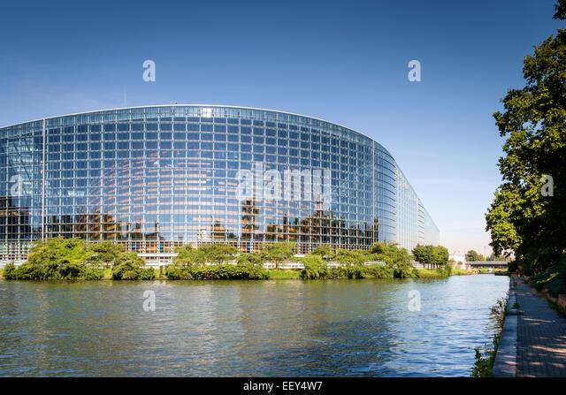 Modern architecture, France - European Parliament Building, Strasbourg, France, Europe - Stock Image