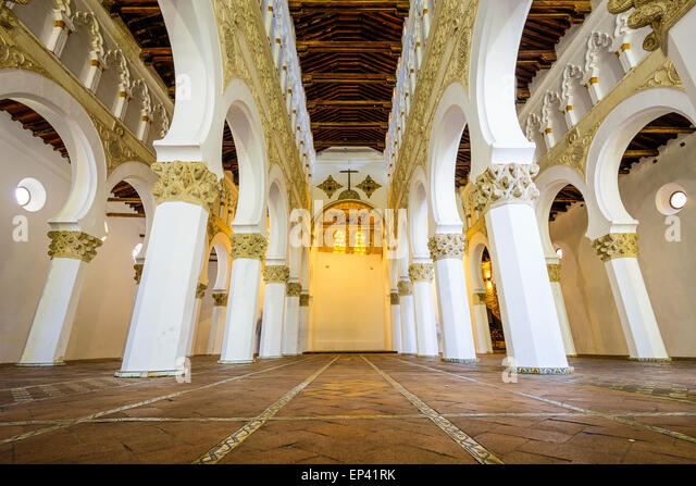 Santa Maria La Blanca Church in Toledo, Spain, oiginally known as the Ibn Shushan Synagogue. - Stock-Bilder