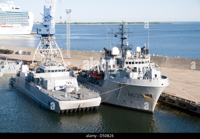 Two Estonian navy vessels in Tallinn port,Estonia in the Baltic States - Stock Image