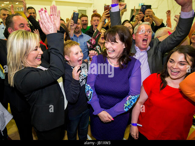 Newly elected Sinn Fein Fermanagh & South Tyrone MP Michelle Gildernew (third from right) is cheered on - Stock Image