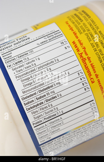 mayo nutrition food label - Stock Image
