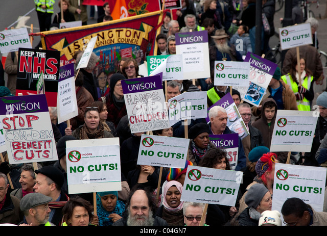 March in Islington, London against government spending cuts - Stock Image