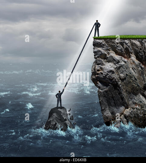 Embrace opportunity business concept as a person in a crisis stranded in the ocean being supported by an extended - Stock-Bilder