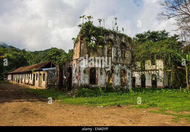 Decaying houses in the old plantation Roca Bombaim in the jungle interior of Sao Tome, Sao Tome and Principe, Atlantic - Stock-Bilder