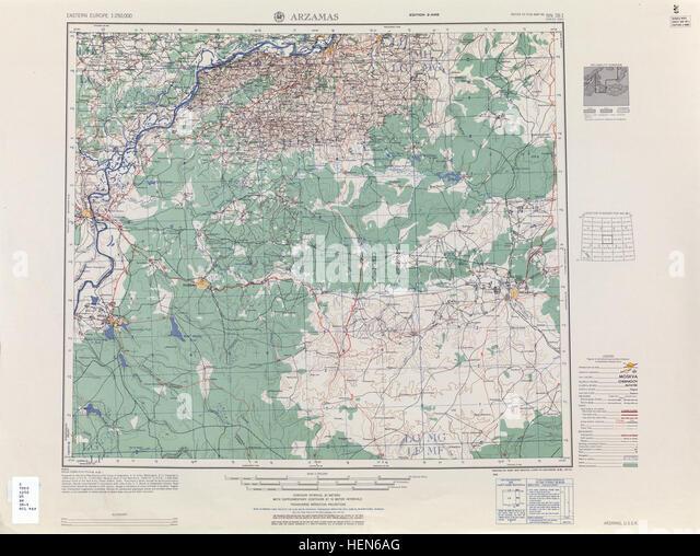 USSR map NN 38-1 Arzamas - Stock Image