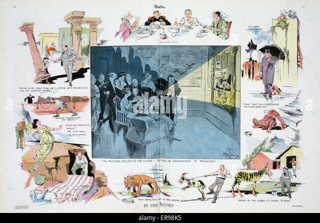 In the movies. Illustration shows a vignette cartoon depicting scenes from the making of movies; at center is The - Stock Image