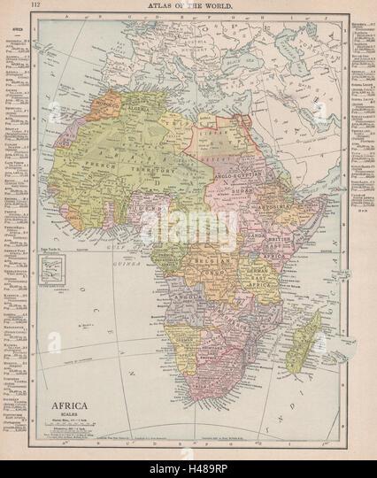 COLONIAL AFRICA Belgian Congo Rhodesia British East Africa RAND MCNALLY 1912 map - Stock-Bilder