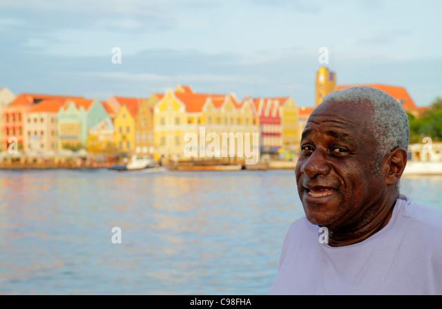 Curaçao Netherlands Antilles Dutch Willemstad Otrobanda Punda St. Saint Sint Anna Bay Handelskade De Rouvilleweg - Stock Image