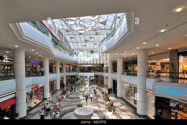 Istanbul, Turkey - April 15, 2017: Interior of Aqua Florya Shopping and Life Center suited in Florya neighborhood, - Stock Image