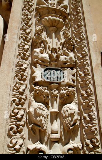 Argentina Mendoza Avenida Gutierrez Banco Hipotecario Nacional National Mortgage Bank building facade Spanish Renaissance - Stock Image