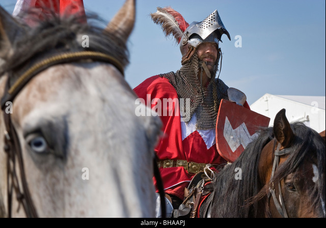 Sword-bearer of Polish Crown leaving battleground after Battle of Grunwald of 1410 in Warminsko-Mazurskie province, - Stock Image