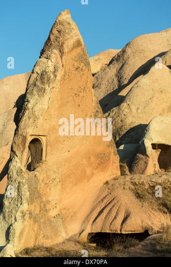 Window in fairy chimney, Red Valley, Cappadocia, Turkey - Stock Image