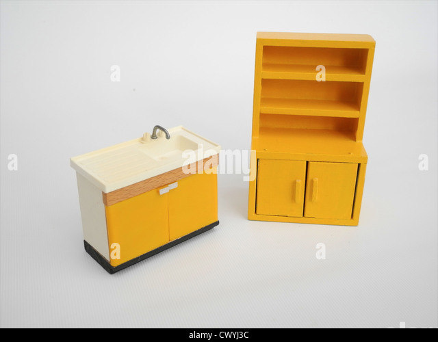 Vintage dolls house furniture 1950s - Stock Image