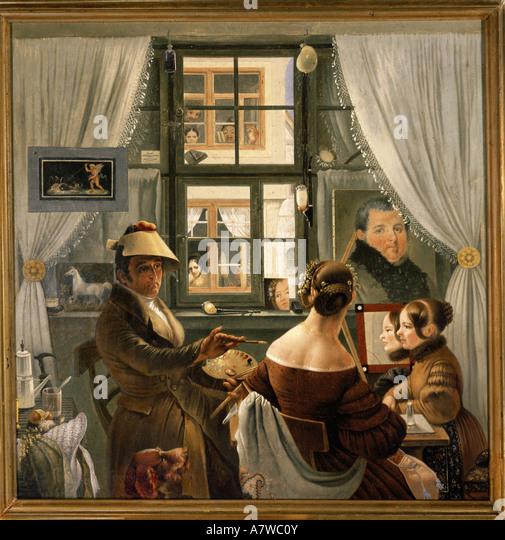 'fine arts, Göser, Karl Friedrich, (1803 - 1858), painting, 'Selbstbildnis im Atelier', ('selfportrait - Stock-Bilder