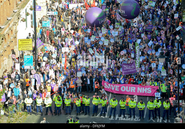 Manchester, UK. 29th Sept 2013. An aerial view of Portland Street during a North West TUC organised march and rally - Stock Image