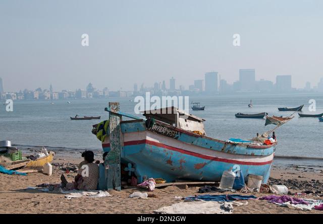 Boat Chowpatty Beach Camdevi Mumbai ( Bombay ) India - Stock Image