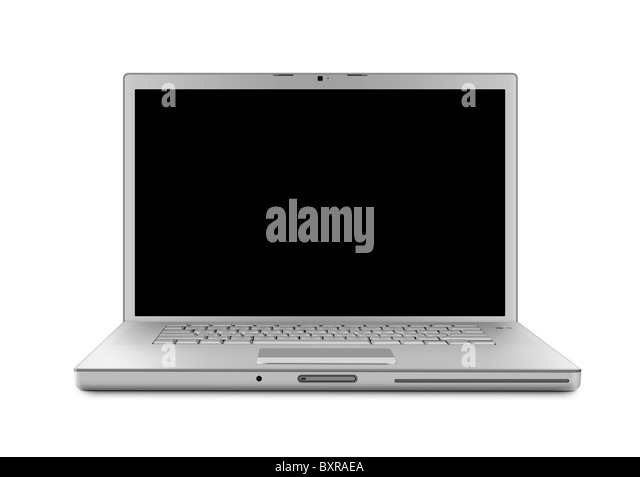 Laptop computer with clipping path. Isolated with a black screen on white background. - Stock-Bilder