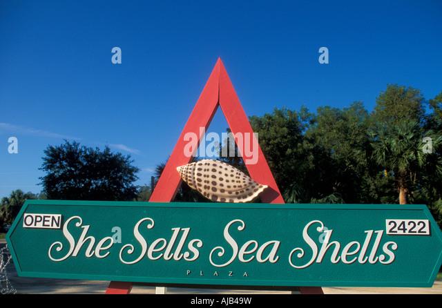 sea shells sign seashells store shops souvenirs sanibel captiva islands southwest florida barrier island - Stock Image