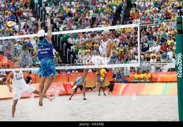 Rio de Janeiro, Brazil. 15 August 2016 Alison Cerutti – Bruno Schmidt (BRA) vs  Phil Dalhausser – Nick Lucena (USA) - Stock Image