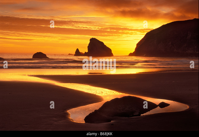 Sunset at Harris Beach State Park on the southern Oregon coast - Stock-Bilder