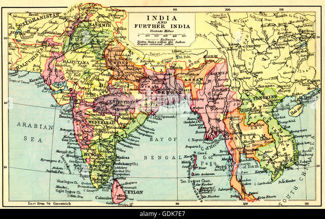 A 1930's map of India and Further India. - Stock Image