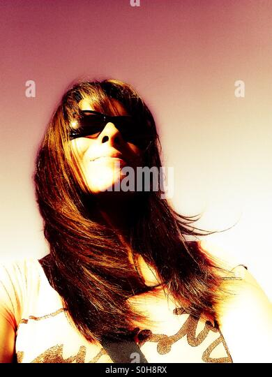 Cool woman with shades - Stock-Bilder