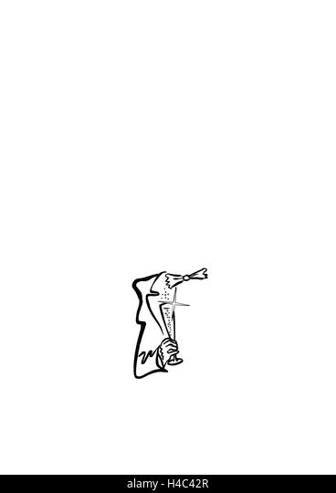 Man in tailcoat with wine glass minimalist - Stock Image