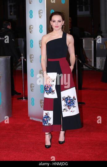 LONDON - FEB 12, 2017: Daisy Ridley attends The EE British Academy Film Awards (BAFTA) at the Royal Albert Hall - Stock Image