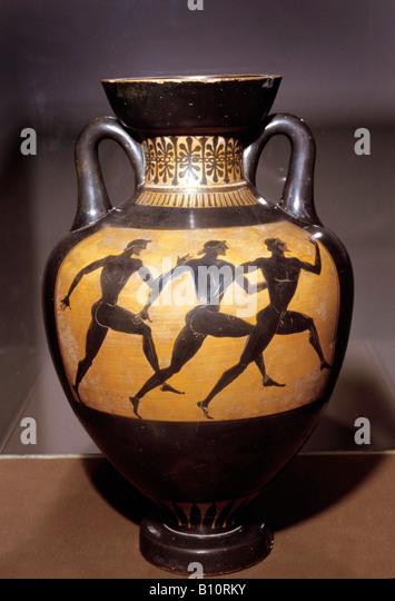 Olympic runners Attic black figure, Panathenaic Vase 5th cent BC Greece. - Stock Image