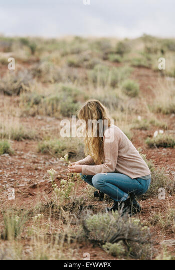 Woman kneeling in a desert, picking wild flowers. - Stock Image