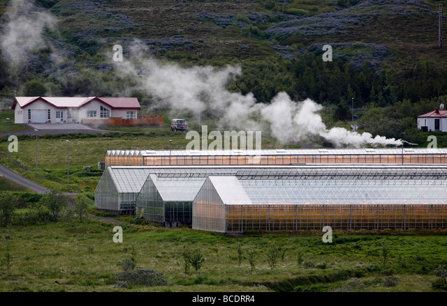 Greenhouses heated with geothermal energy near Husavík, Iceland - Stock Image