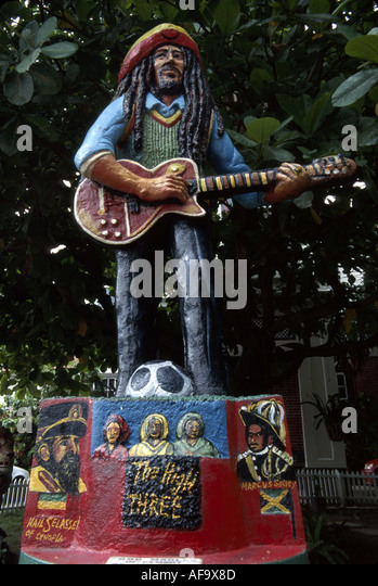 Jamaica Kingston Bob Marley Museum cement statue by artist Jah Bobby famous reggae musician - Stock Image