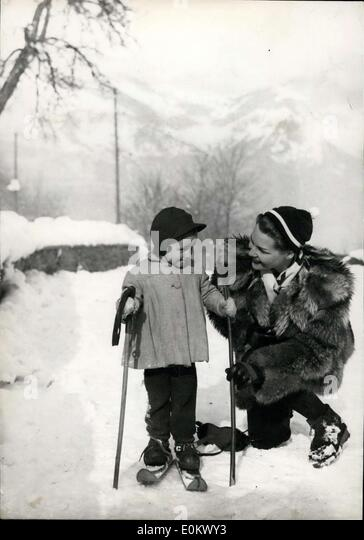 Jan. 27, 1952 - The youngest ski-er: This young girl ski-er of threes appeared recently for the first time on skis - Stock Image