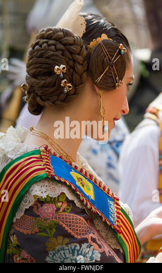 Woman wearing traditional costume from Valencia Spain - Stock Image